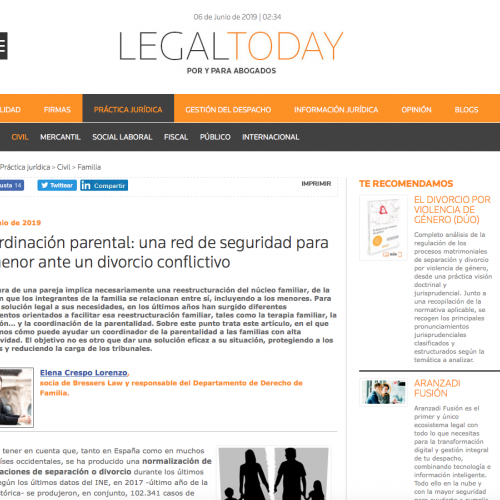 Elena Crespo Legal Today coordinación parental